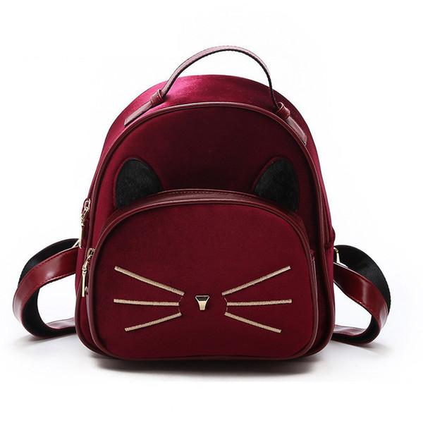 Gute qualität Weiche Velours Material Schulrucksack Für Frauen Nette Katze Design Kleinen Rucksack Einfarbig Dame Umhängetasche