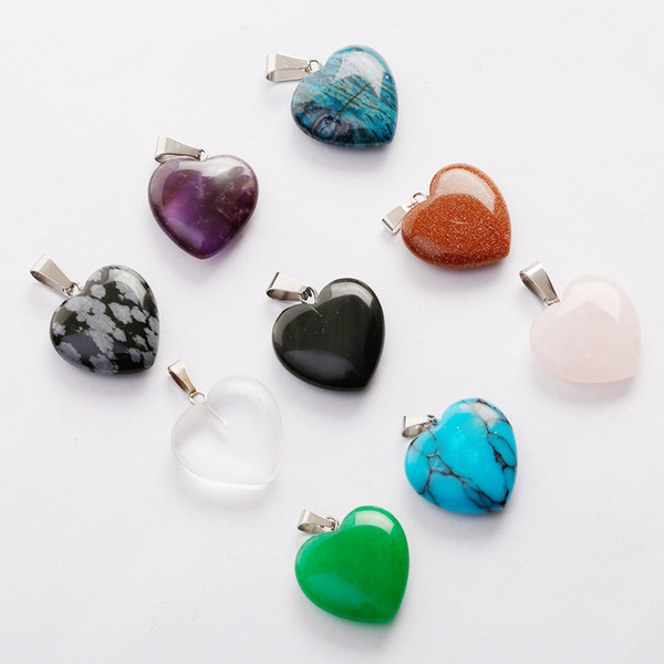 Charms hot Love Heart Shape stone mix Color Pendants Loose Beads for Bracelets and Necklace DIY Jewelry making for Women Gift free