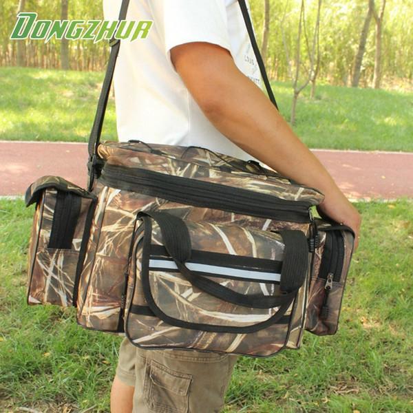 Dongzhur Waterproof Fishing Bag Large Capacity Multifunctional Lure Fishing Tackle Pack Outdoor Shoulder Bags 50*27*28cm #85288