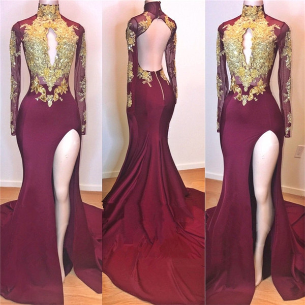 High Neck Long Sleeve Mermaid Prom Dresses 2019 Key Hole Bust Split Formal Evening Gowns Gold Appliques Open Back Cocktail Party Ball Dress