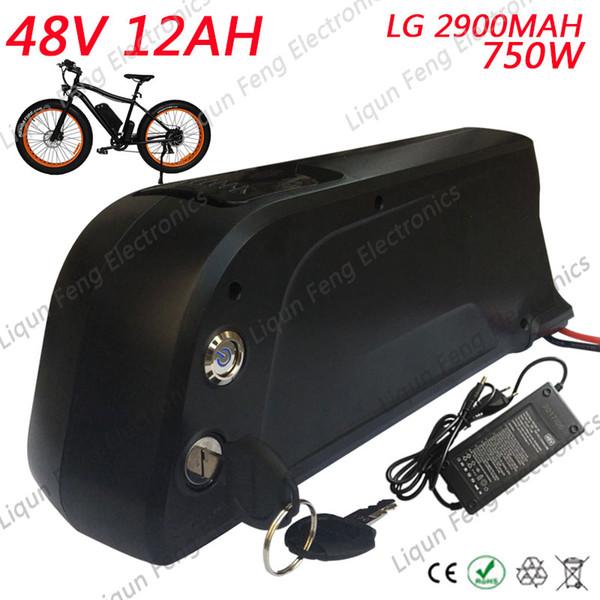 EU US AU No Tax E-bike 48V 12AH Electric Bicycle Lithium Battery use LG 2900MAH cell for 48V 750W Bafang/8fun BBS02 Wheel Motor.