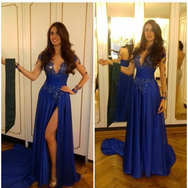 Arabic Blue Split Robe De Soiree Illusion Jewel Neckline Long Sleeves Prom Dress Lace Beaed Sequined Formal Gowns Long 2019 Evening Dresses