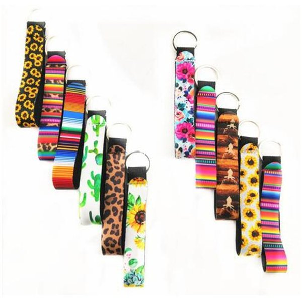 Floral Printing Key Chain Diving Material Keychains Long Strip Leopard Lanyard Key Ring sunflower Neoprene Eco Friendly Pendant DHL KFJ564