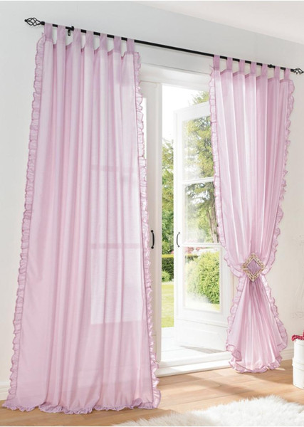 best selling 1pair of Sheer Curtain 2pcs Beautiful ruffles white pink yellow colors window curtains,table top,hooking,rod pocket