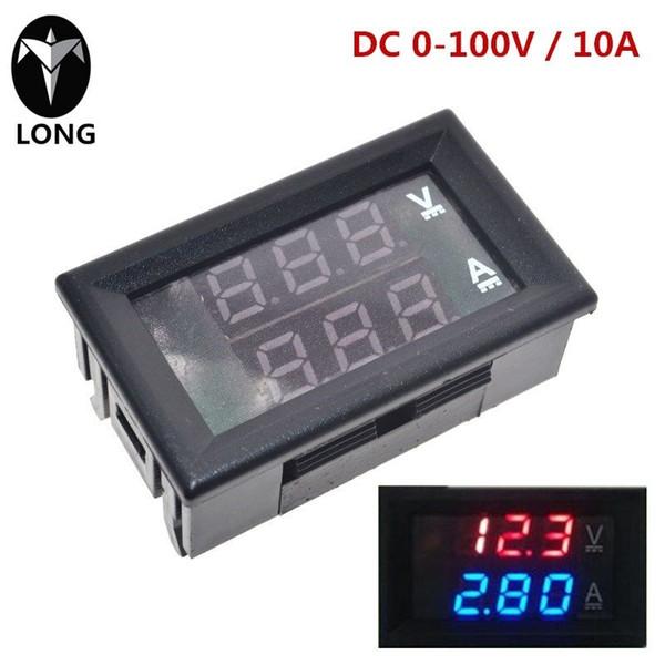 """longteng DC 0-100V 10A Digital Voltmeter Ammeter Dual Display Voltage Detector Current Meter Panel Amp Volt Gauge 0.28"""" Red Blue LED"""