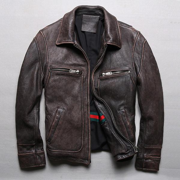 Plus Size S-5XL 2019 Retro Jaqueta de Couro Genuíno dos homens Clássicos Do Vintage Jaqueta Da Motocicleta Do Vintage de Alta Qualidade Grosso Do Couro Casacos