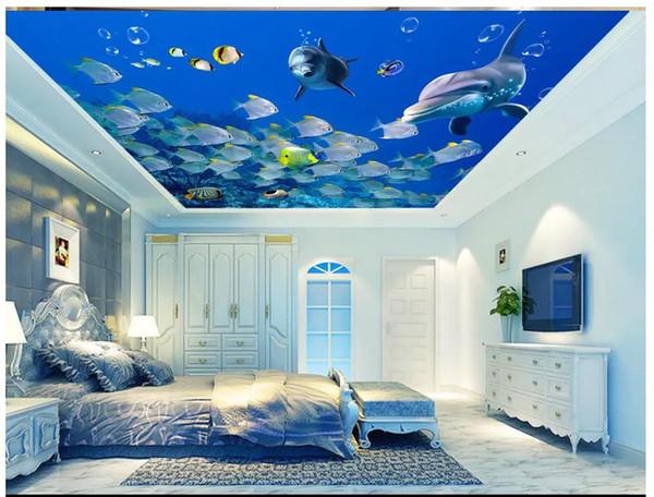 Großhandel Benutzerdefinierte Große 3d Wand Fototapeten Ozean Glücklich  Ozean Fisch Delphin 3d Schlafzimmer Wohnzimmer Zenith Decke Mural Tapete  Für ...