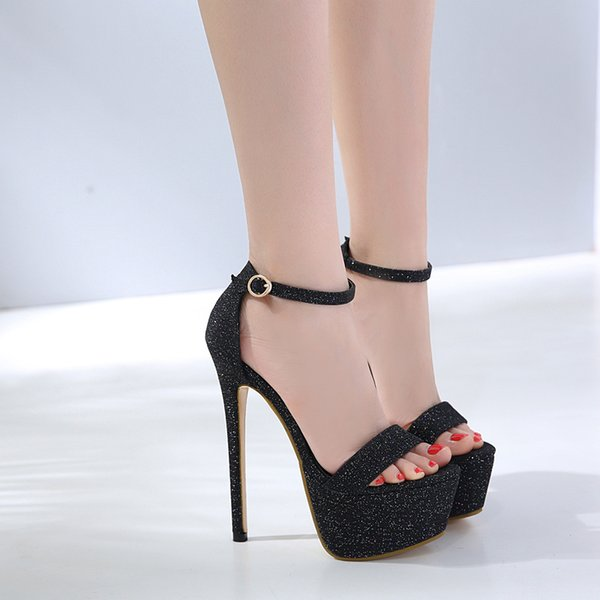 Pop2019 Show Evening Hate Day High High-heeled Sandals Woman Fine With One Buckle Waterproof Platform Fish Mouth Shoes