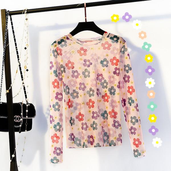 Las tendencias de venta con estilo Kawaii New Sweet T-shirts Girls Flower Mesh See Through Top Heatwave Unny Tshirts Protector solar Verano Moda Tops