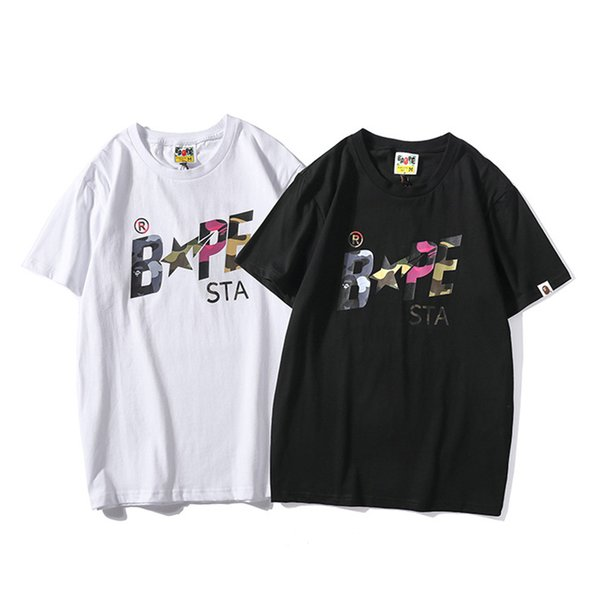 Bape Mens Designer T Shirt Mens Casual Short Sleeves Luxury Couples High Quality Cotton Tees Camouflage Star Print Size M 2XL Tea Shirts Fun Tshirts