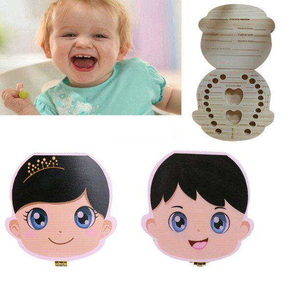 Portuguese Language Wood Tooth Box baby Milk Teeth Save for Kids Boy&Girl Portuguese Storage Boxes High Quality Drop