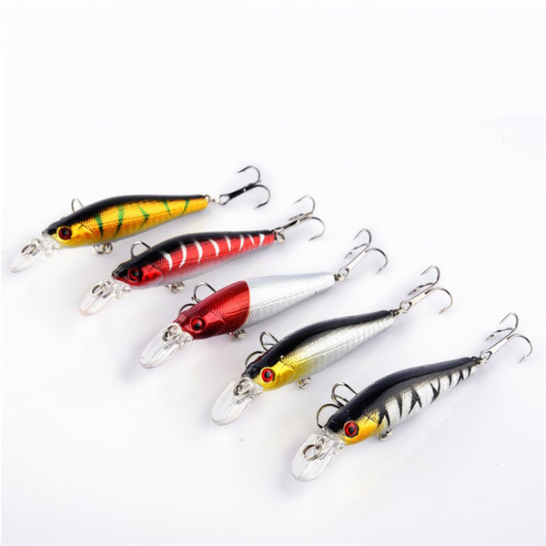 5pcs Hard Minnow Fishing Lures Wobblers Crankbait Fishing Tackle Gold-plated Plastic Laser Pesca Isca Artificial Baits 7.9g 8cm
