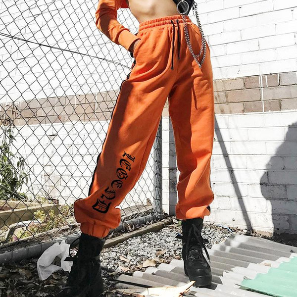 Weekeep Frauen Hot Fashion Pantalon Femme Seite Checkerboard Jogginghose Orange Gestrickte Damenhose Beiläufige Lose Lady Pants