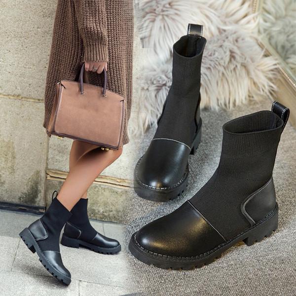 35 # Mulheres Winter tornozelo Quente Preto Comprimento de malha de lã Rodada Toe deslizamento MED com Botas Botas de couro para mujer
