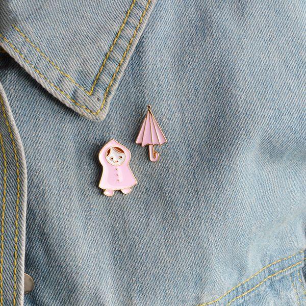 Miss Zoe Cartoon Ombrello impermeabile rosa Ragazza Spilla Bottone Spilla Giacca di jeans Spille Distintivo Gioielli preziosi Regalo per bambine