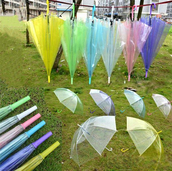 7 Renkler Temizle Kabarcık Şemsiye Şeffaf Kubbe Rüzgar Geçirmez Yetişkin Yağmur Dome Gölgelik Tote Düğün Dekor Golf Şemsiye Yağmur Dişli