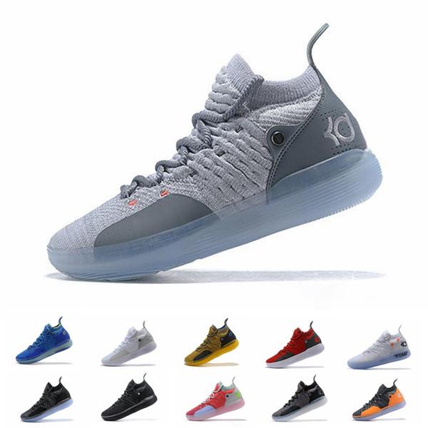 Ucuz Kd 11 Rahat Ayakkabılar Erkek Kadın Gençlik Kırmızı Paranoyak Farsça Menekşe PE Fly Kevin Durant 11 s XI 2019 Rahat ayakkabılar