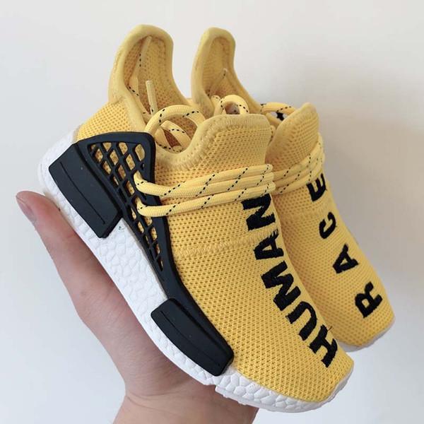 Nuevo Bebé Niños Zapatos Raza Humana Zapatillas de correr Chica Chico Entrenadores Pharrell Williams Pour Enfants Niños Deportes Zapatillas Amarillo Negro Azul Rojo
