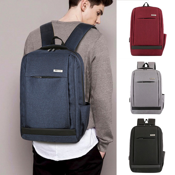 2019 new bagpack women men ladies girl solid business shoulder backpack with usb interface bag dropshipping mochila plecak