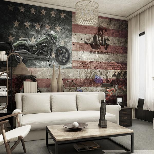 Großhandel Vintage Lokomotive Amerikanische Flagge Benutzerdefinierte 3D  Fototapete Schlafzimmer Wohnzimmer Sofa Wandverkleidung Wohnkultur Wandbild  ...
