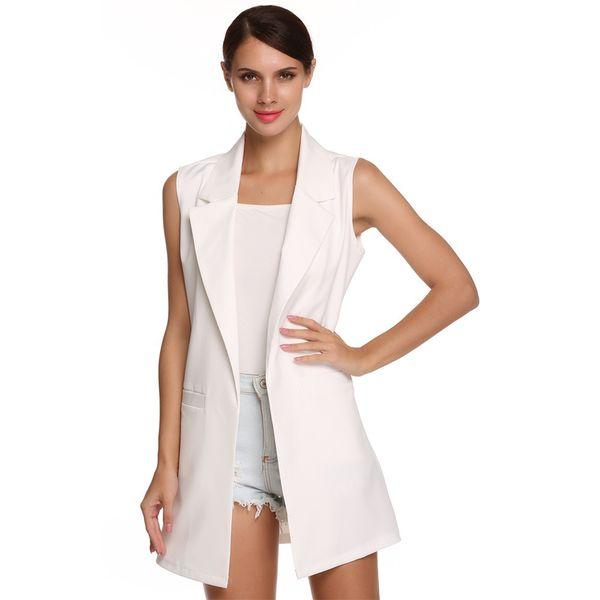 Women Spring Summer Outerwear Vest Stylish Casual Sleeveless Lapel Neck Pocket Long Waistcoat Slim Cardigan New