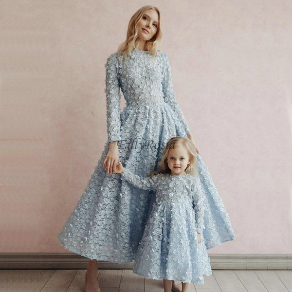 Light Blue Lace Evening Dresses Long Sleeve 3D Flowers A Line Tea Length Elegant Mother and Daughter Dress Formal Party Gowns Saudi Arabian