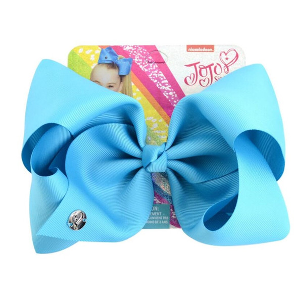 8 Inch jojo siwa Bows Solid headband Hairclips For Girl Handmade Rainbow Dance Party Kids Boutique Hair Accessories 20 Colors Available