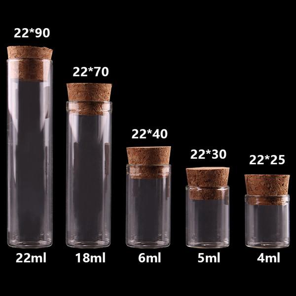 4мл / 5мл / 6мл / 18мл / 22мл Маленькая пробирка с пробками для бутылок Пробки Баночки Флаконы DIY Craft