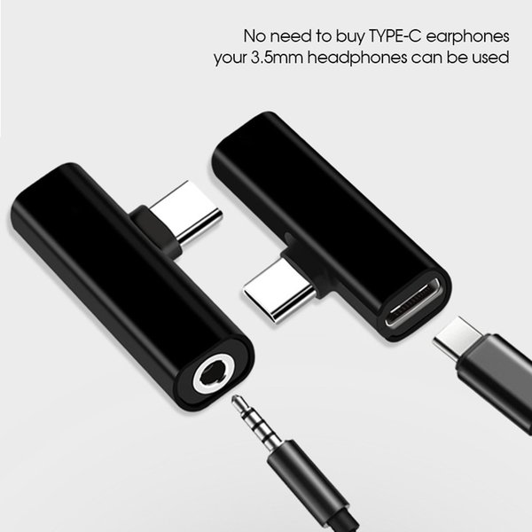 2 in 1 USB Tipo C Cavo di ricarica Tipo C Convertitore da 3,5 mm Adattatore per auricolari audio per Xiaomi Huawei P20 Pro Lite