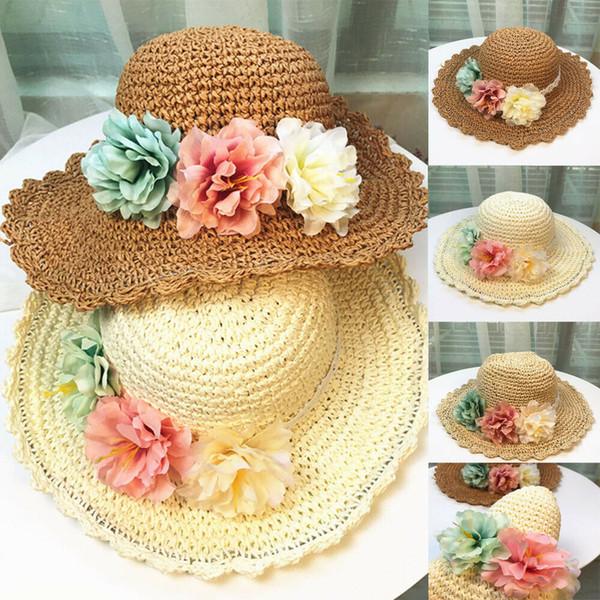 Baby Kids Girl Boho Knitting Straw Hat Flower Bucket Cap Beach Holiday Boho