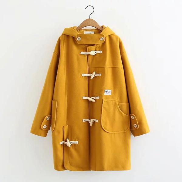 сплошной цвет нерегулярные карманные деревянные пряжки шерстяные пальто женская куртка