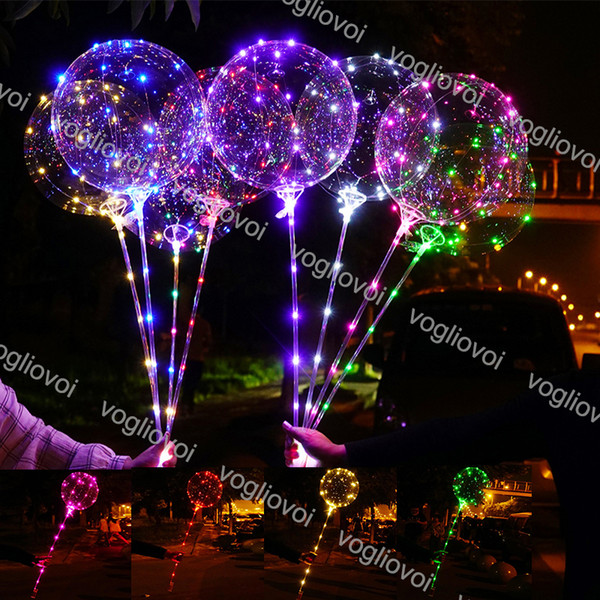 LED Flashing Balloon Bobo Ball LED line with Stick Wave Ball 3M String light Up for Christmas Halloween Wedding Birthday Decoration DHL