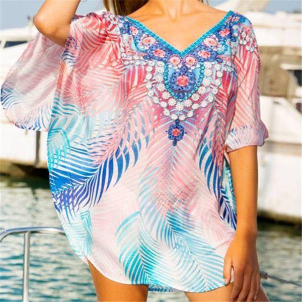 2019 boho cotton dress tunic beach coverups for women pareo de plage swimsuit cover up beach sarongs swimwear kaftan #q801