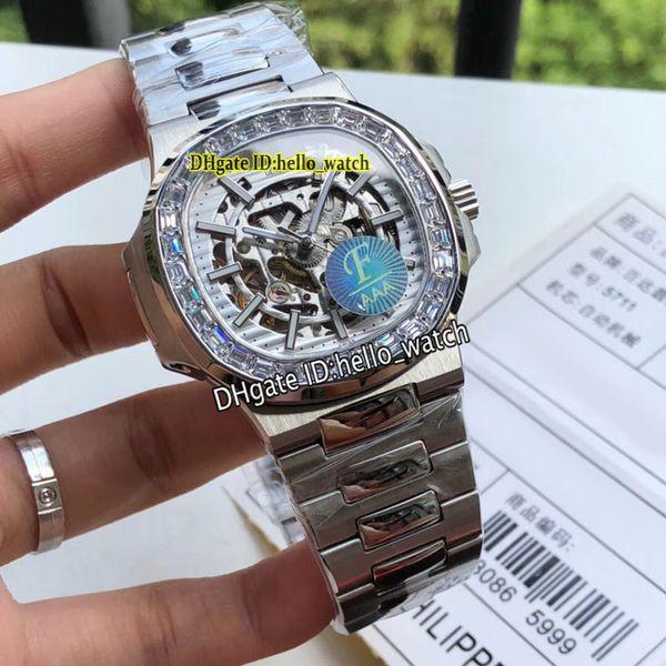 Nouveau Sport Nautilus 5713/1 5711 / 1A Blanc Squelette Cadran HK 4813 Montre Pour Hommes Automatique Big Diamond Bezel Bracelet En Acier Inoxydable Montres Montres 6Color