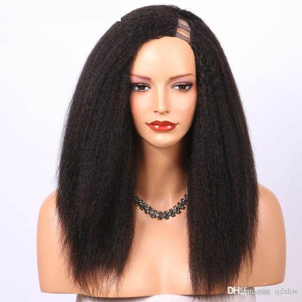 U Part Human Hair Wigs For Black Women Kinky Straight Italian Yaki Peruvian Virgin Hair Upart Wig Left Side Part Pre Plucked Hairline