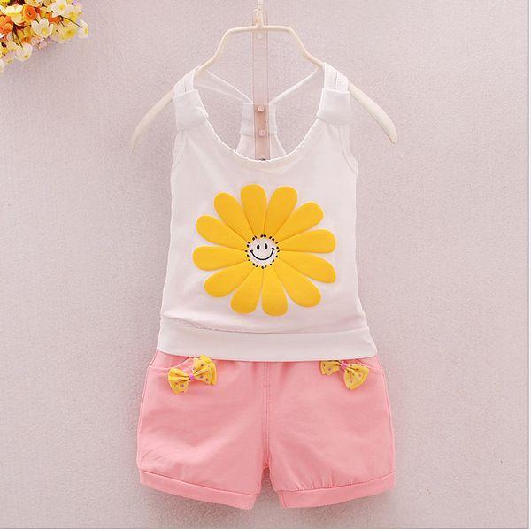 good qulaity Baby Girls Summer Clothing Set Girls vest set Sunflower shot kids set Children baby braces for summer toddler girl