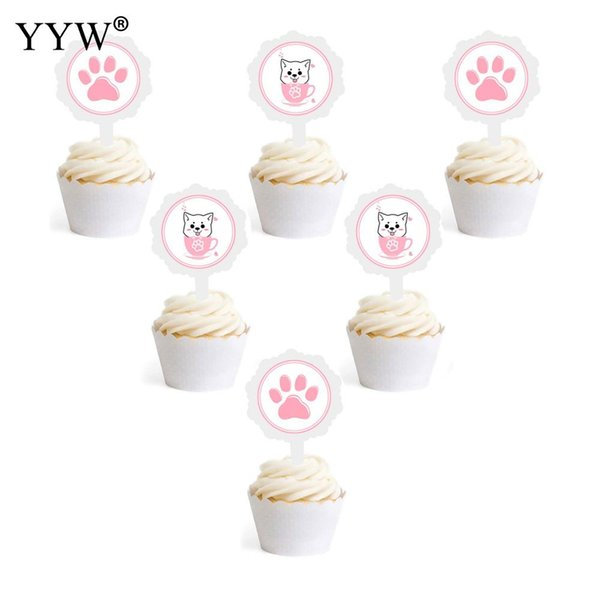 6pcs Cartoon Cat Dog Paper Cake Ice Cream Decorating Plate Kids For Pets Card Decor Cute Pet Party Birthday Party Decorations