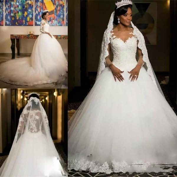 Африканские бальные кружева свадебные платья винтажные аппликации иллюзия с длинными рукавами плюс размер свадебных платьев собор поезд тюль vestido de novia