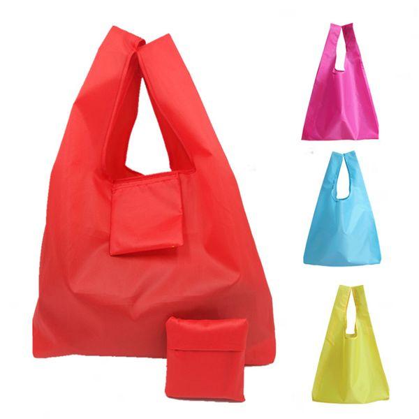 Eco sac réutilisable 5 couleurs polyester pliable recycler shopping sac femmes Tote Cartoon animal fruits fruits légumes épicerie