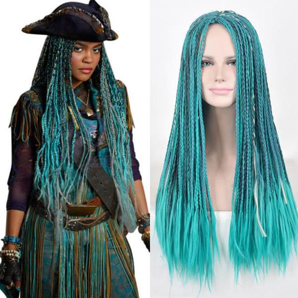 Pas cher Tressé Perruques 72cm longs Cheveux ondulés pour AFRICAN Tressage Hest perruques de cheveux synthétiques résistant non avant de dentelle Glueless cosplay perruques