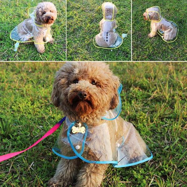 Transparent Pet Dog Raincoat Dogs Rainwear Pet Cat Rain Coat Rainproof Dog Costume For Dogs Pets Clothing Waterproof Pet Clothes Wholesale