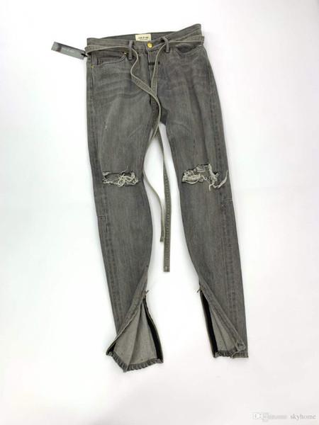 Medo de deus 6ª FOG JIUJITSU PANT Sexta temporada High Street Drawstring Tie Banded Twill pants Grassland Soul Jeans calças zdl 89.