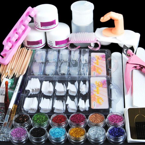 Acryl Nail Art Maniküre Kit 12 Farben Nagel Glitter Pulver Dekoration Acryl Stift Pinsel Falsche Finger Pumpe Nagelkunstwerkzeuge Kit Set