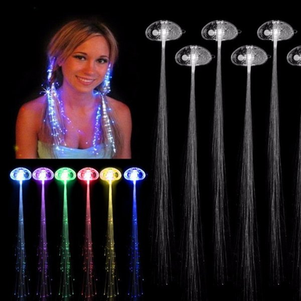 Glow Blinking Hair LED Braid Show Party Decoration Clip Flash Colorful Luminous Optical Braiding Hairpin Halloween Christmas Day Toys Girl