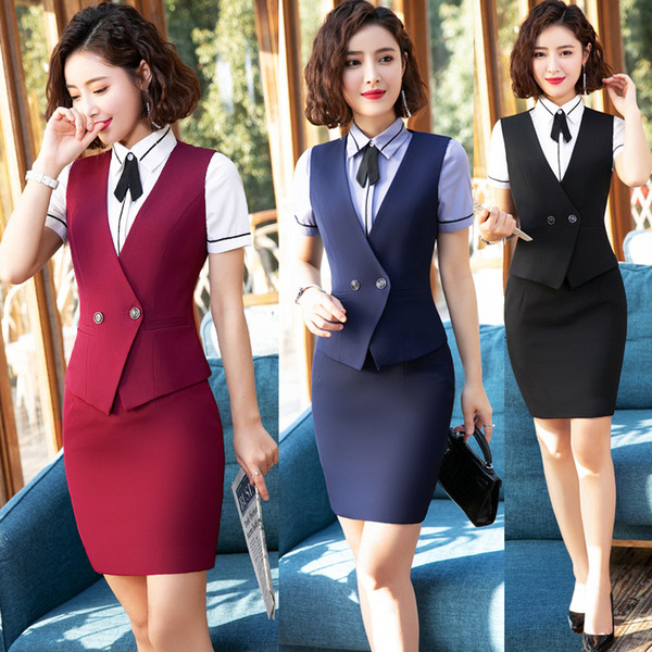 Summer Women Suits Skirts And Tops Vest Waistcoat Office Ladies Skirt Suit Formal Wear For Work Big Size Ropa De Oficina