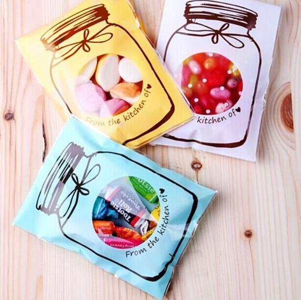 Hot 50 / 100Pcs 7 * 10cm Forma de botella de dibujos animados Candy Cookie Biscuits Bolsas de embalaje Regalo Bolsa de plástico Boda Favores de fiesta de cumpleaños