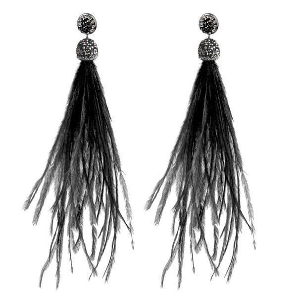 Pendientes de la pluma YJSFG CASA Bohemia pluma de la avestruz de la joyería pendiente de gota de la borla de la manera cuelga para el regalo de Navidad Mujeres