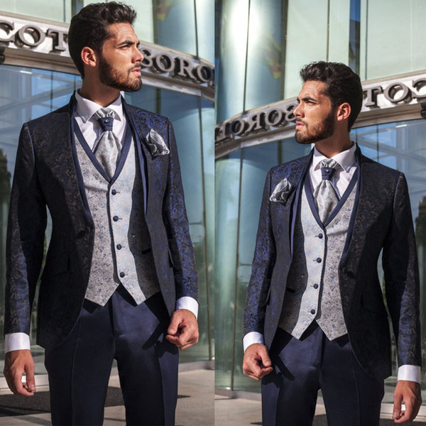 Navy Blue Evening Party Formal Men suits Two Pieces(Jacket+Pants) Groomsmen Wedding Wear Tuxedos Custom Made