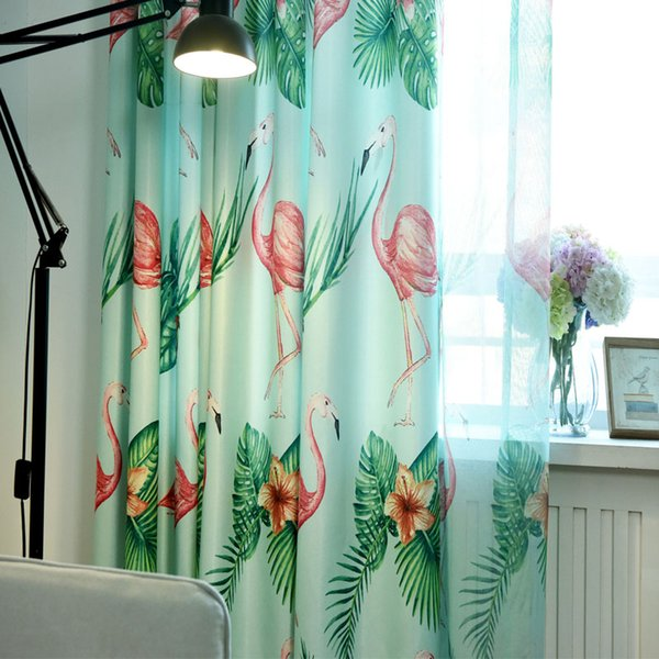 2019 Bedroom Children\'S Cartoon Flamingo Print Curtains Living Room Tulle  Curtains Bedroom Decoration Tulle Curtain Fabric From Sophine08, $25.58 |  ...