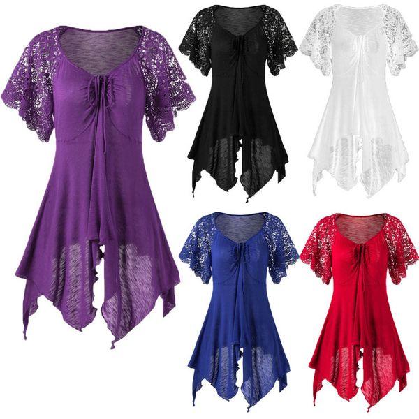 Women Lace Short Sleeve O-Neck Panel Pleated Lace Hem Irregular Dress Lace Up Bodycon Dresses Ladies Vestidos 5 Colour Size(S-5XL)